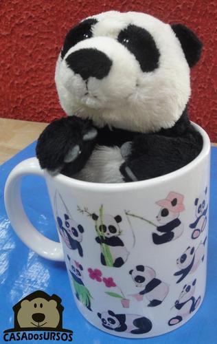 Imagem 1 de 7 de Caneca Porcelana Presente Romântico + Ursinho Panda 15cm