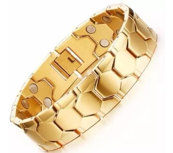 Bracelete Pulseira Magnética Banhado Ouro 18k Dourada