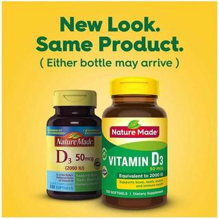 Vitamina D3 2000iu Nature Made - 50mcg - 320 Softgels - Imp.