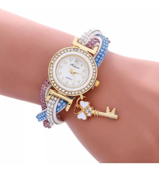 Relógio Feminino Dourado Luxo Lindíssimo Pulseira Com Pedras