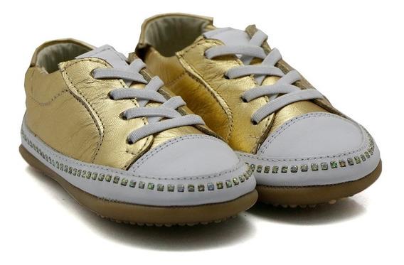 Sapato De Bebê Niño Shoes Tênis Laura Dourado