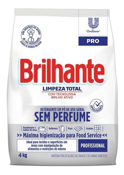 Detergente Em Pó Sem Perfume Brilhante Limpeza Total - 4kg