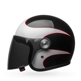 Capacete Bell Riot Boost White Black Red Custom Retro Hd