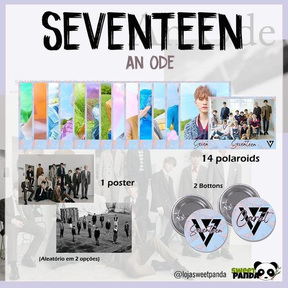 Kpop | Kit Seventeen Com 14 Polaroids + 2 Bottons + 1 Poster