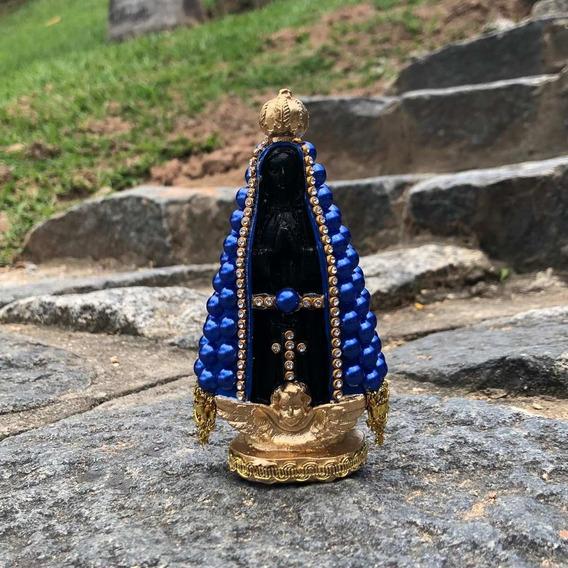 Nossa Senhora Aparecida Gesso Manto Pérola Azul 12cm Altura