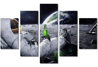 Quadro Mosaico 5 Peças Hd 4k Astronautas Mdf 6mm