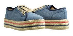 Alpargata Zapato Mujer Azul Marino Con Suela De Yute