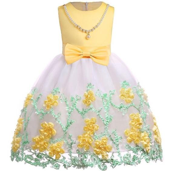 Vestido Infantil Amarelo De Baile Para Meninas 4 6 8 10 Anos
