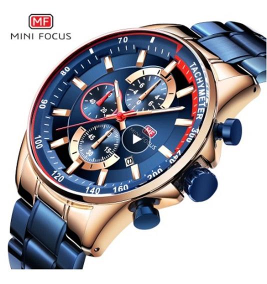 Relógio Masculino Azul Com Dourado Mini Focus 100% Funcional