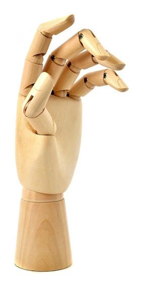 Mão Articulada Madeira 28cm - Desenho Arte Decor Vitrine