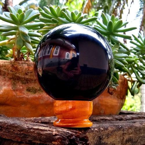 Bola Esfera Obsidiana Negra Preta 9cm Pedra Natural 865g