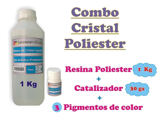 Resina Cristal Vidrio Liquido Poliester + 3 Pigmento Color