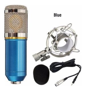 Microfone Condensador Profissional Bm800 Studio Audio Azul