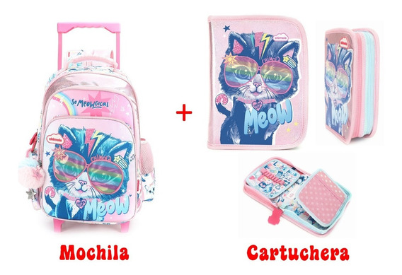 Combo Mochila Y Cartuchera Chimola Cat Con Carro Y De 18p