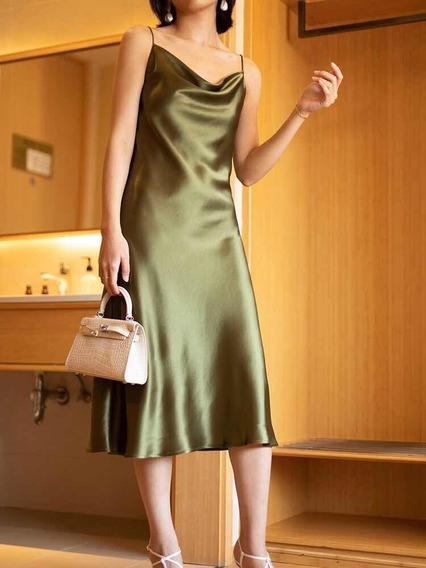 Vestido Slip Dress Seda Importada Nuevo