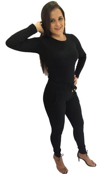 Conjunto Feminino Blusa E Calça De Malha Ribana Canelada