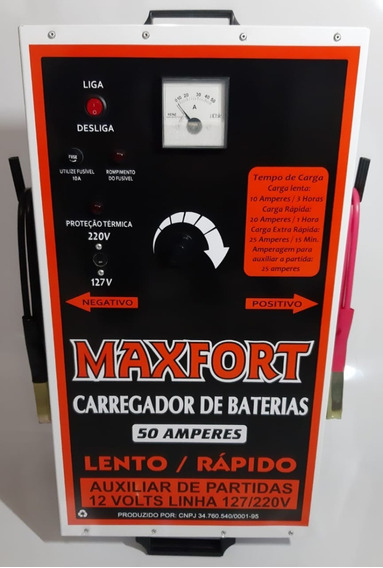 Carregador De Bateria 50a 12v Com Auxiliar Partida Maxfort