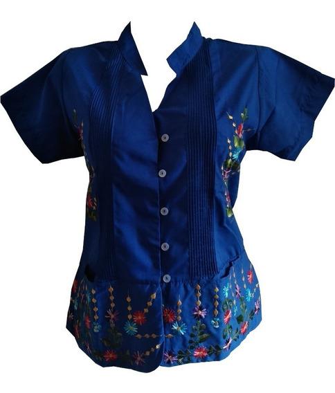 Blusa Guayabera Dama Arroz Azul Bordada 100% Yucateca