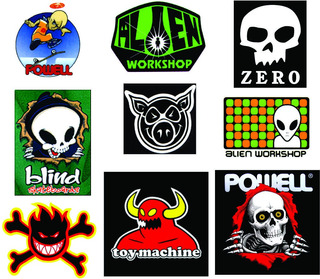 18 Calcomanias Stickers Skate Y Roller. Varios Diseños. Hd.