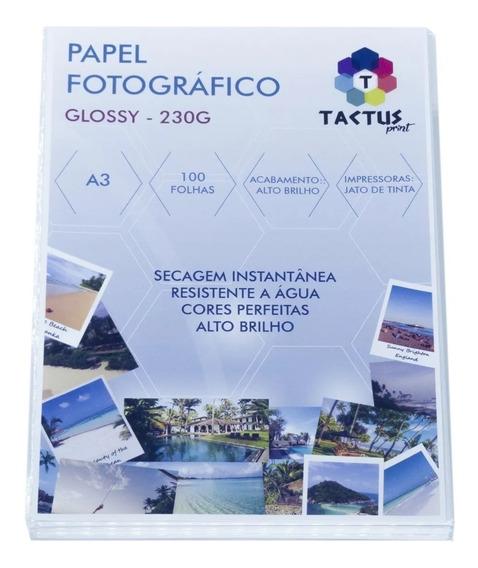 Papel Fotográfico 230g Hy-glossy Prova Dágua - 100 Folhas A3