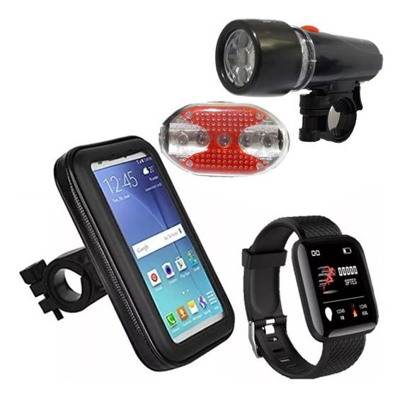 Relogio Inteligente Bike Porta Celular Kit Lanterna Ciclismo