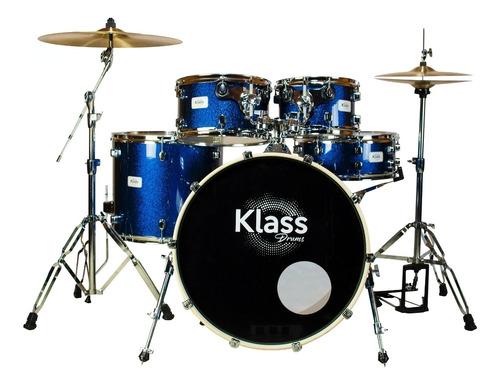 Bateria Klass Drum Studio 1000 Blue Sparke 2t Bumbo 20