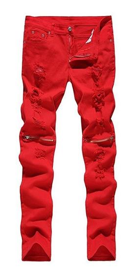 Jeans Hombres Ripped Flaco Angustiado Destruido
