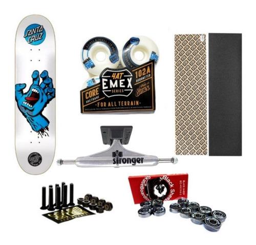 Kit Skate Santa Cruz Pro 7,9 Branco Stronger 139 Emex 54mm