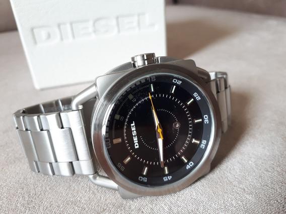 Relógio Original Diesel Prata Fosco Fundo Preto