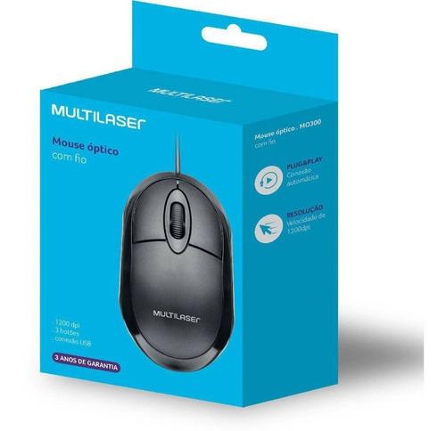 Mouse Óptico Multilaser 1200 Dpi Usb Preto Mo300 Pc