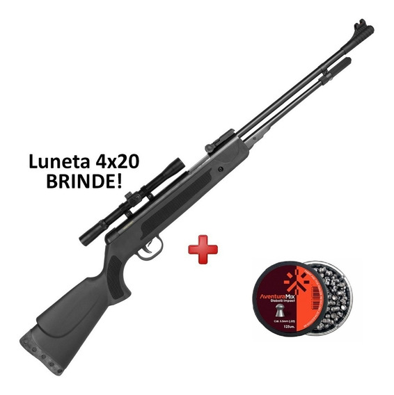 Carabina Pressão Fixxar Black 5.5 Luneta Brinde + Chumbinho