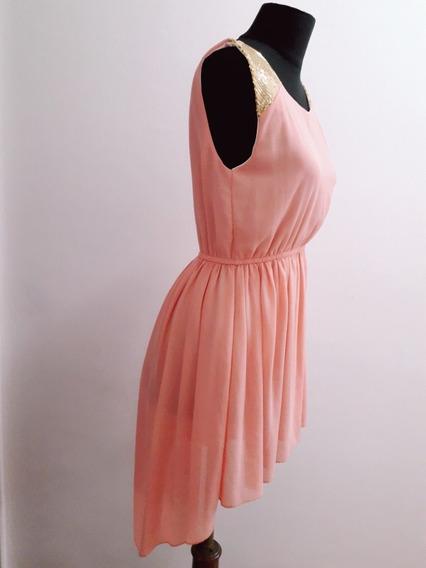 Vestido De Gasa Irregular Talle M.