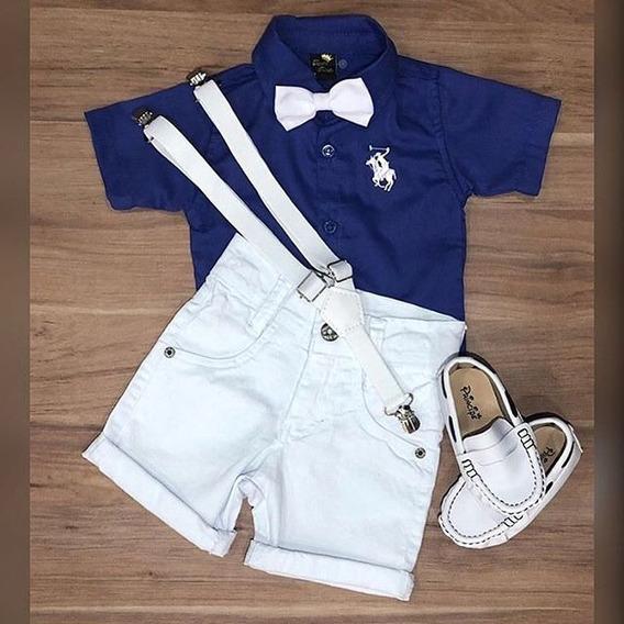 Camisa Social Azul Suspensório E Gravata Mocassim Azul