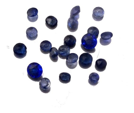 Safira Natural Pedra Preciosa Redonda Lote Com 22 Pçs J21318
