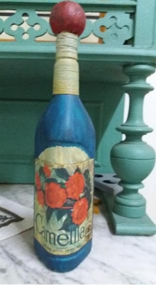 Botella Decorativa Flores Pintada A Mano Alto 37 Cm Largo 9