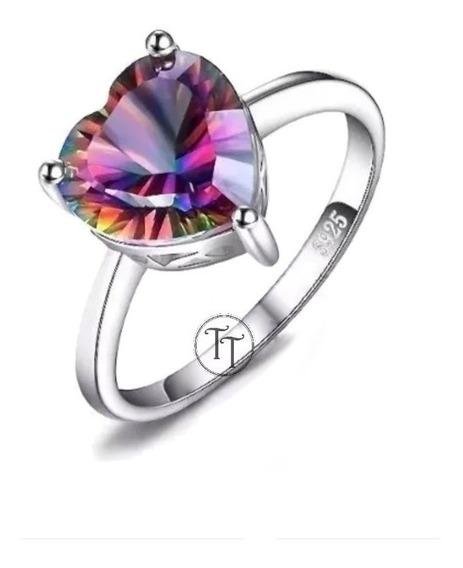 Anillo Topacio Arcoiris 2.65 Ct Plata Esterlina 925 Heart