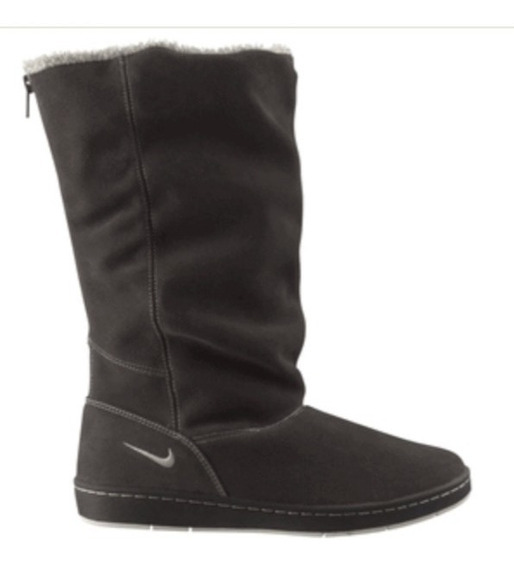 Bota Nike Negra Con Peluche Gris Talle 9us - Impecable 1 Uso