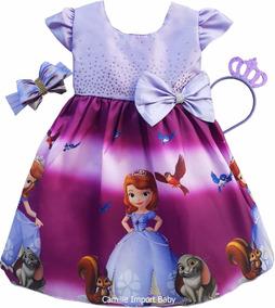 Vestido Princesa Sofia Festa Luxo E Coroa E Faixa Promoção