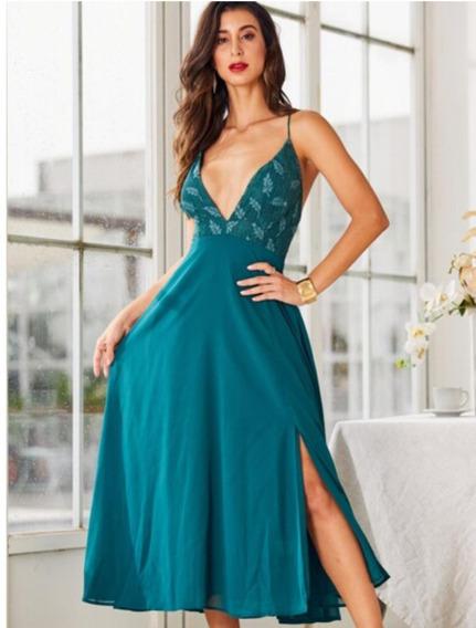 Vestido De Fiesta Largo Color Verde.