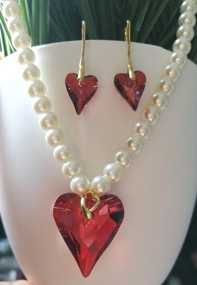 Corazón Swarovski Con Perlas