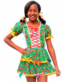 Vestido De Festa Junina Caipira Infantil Tamanhos 4 A 8