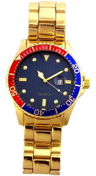 Relógio De Pulso Masculino Quatz Pulseira Dourada B5687