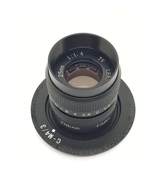 Lente 25mm F/1.4 Cctv C-mount + Adaptador Micro Four Thirds