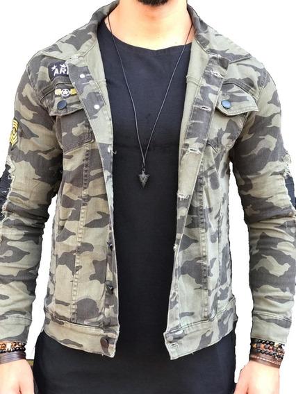 Jaqueta Jeans Slim Fit Militar Camuflada Masculina Blusa