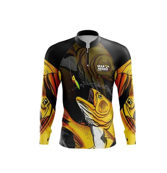 Camisa De Pesca Proteção Solar 50 Fps Uv Mar Negro Dourado