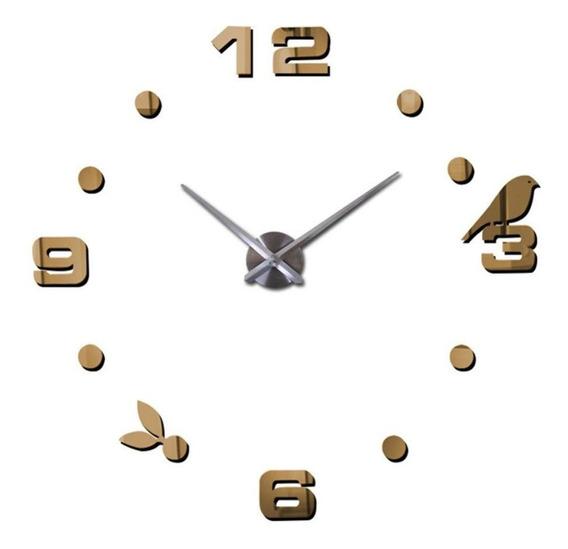 Reloj De Pared 3d Pajarito Adherible A Pared Chico 10/70 Cm