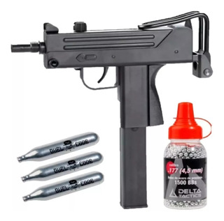 Pistola Tipo Uzi Co2 4.5 Fox M11 Plastica No Blowback + Balines + Gases