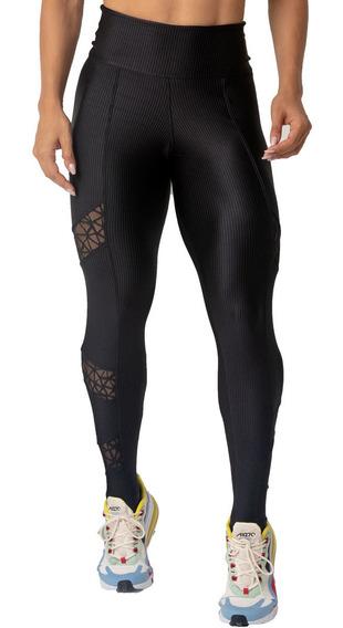 Legging Poliamida Lycra Sport Preta Com Detalhes Em Renda