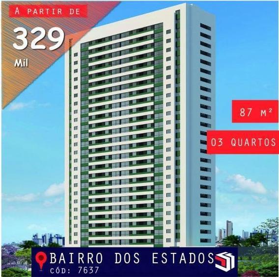Apartamento Para Venda Em João Pessoa, Bairro Dos Estados, 3 Dormitórios, 1 Suíte, 1 Banheiro - 7637