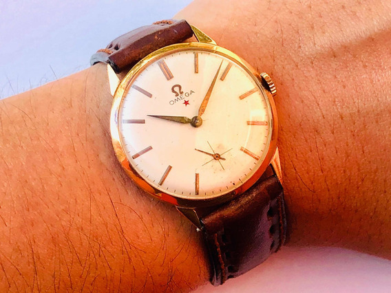 Relógio Pulso Suíço Omega Estrela Vermelha Ouro 18k Cal 268